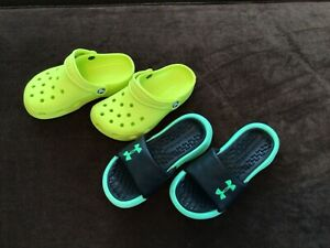 Lot 2 Boys Girls Sandals Under Armour Playmaker Fix Slide Crocs Classic Clog Sz1