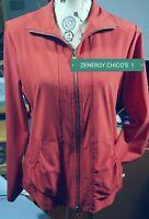 ZENERGY CHICO'S RED FRONT ZIP STRETCH WINDBREAKER JACKET SIZE 1