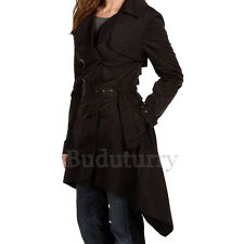 Ophelia Double-Breasted Trench Coat Classic Black Ruffled-Tiered-back Jacket S 4