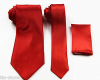 RED ORANGE MATCHING TIE SET 3 PIECE POCKET SQUARE HANKY WEDDING SKINNY NECKTIE