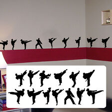 Taekwondo silhouettes, martial artists decal,fathead style sticker decal karate