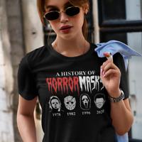 A History of Horror Masks Jason Halloween Corona Spruch Lustig Fun Damen T-Shirt