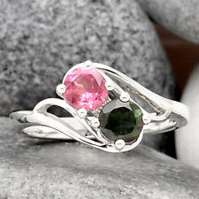 Natural Multi Tourmaline 925 Sterling Silver Ring s.6 Jewelry 6882