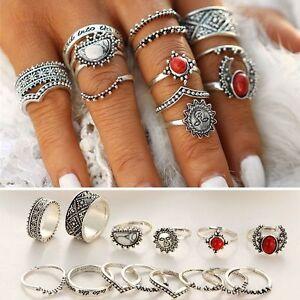 14Pcs/Set Women Boho Vintage Silver Turquoise Flower Finger Knuckle Ring Jewelry