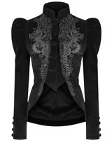 Punk Rave Womens Gothic Riding Jacket Coat Black Velvet Lace Steampunk Victorian