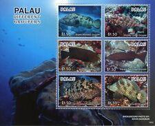Palau 2019 MNH Groupers Baramundi Camouflage Grouper 6v M/S Fish Marine Stamps