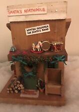 Vintage Christmas Village Accesories Santa Northpole Wooden Musical Santa House
