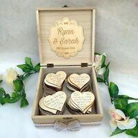 Wedding Wish Box Wood Personalised with 100 Large Hearts Alternative Guest Book