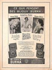 BIJOUX BURMA / JOSEPHINE BAKER / SUZY PRIM / MARIE GLORY / PUBLICITE 1937