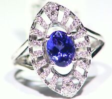 1.78ct 14k ORO Tanzanita Natural Diamante Vintage AAAA Anillo Compromiso Boda