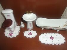 1:12 Scale Dollhouse Miniature Handmade 3 pc. Terry Cloth and Lace Bath Mat Set