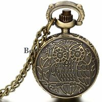 Vintage Bronze Owl Pattern Numerals Dial Quartz Pocket Watch Pendant Necklace