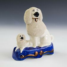 Antique Staffordshire Painted Pottery White Poodle K9 Dog w Puppy Figurine JTM