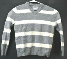 Express Women's Large Long Sleeve Gray White Striped Lambswool V Neck Sweater