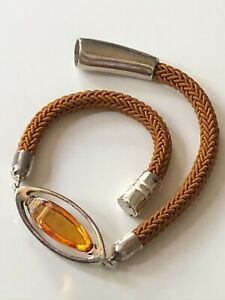 Sterling silver '925' and oval amber stone cord bangle cuff with magnetic clasp