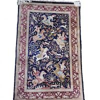 High End 3'x5' Fine Persian Hunting Scene 100% Silk Hand Knotted + signed Razahi