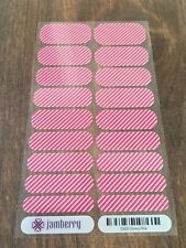 Jamberry *Skinny Pink* 2015 FULL RETIRED Magenta Pink White Stripes Candy Cane