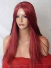 Parrucca Rosso Intenso Lunga Poker dritto Donna Donne testa piena capelli Parrucche O12