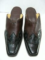 Corral Womens Cowgirl Mules / shoes Size 8 M Black Leather Fancy cut #JB