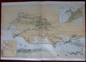 Egypt North Africa ships Alexandria Port Said 1882 birds eye view supplement