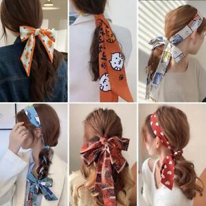 Women Scarf Headbands Flower Print Long Ribbon Hair Ties Bow Hair Bands For Best