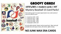 GROOVY 1970's/80's + modern BASEBALL Random PACK 15 cards + 1 HIT per pack 🔥