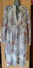 WHISTLES cotton smock dress, size 14, white floral, long sleeves, nice & loose