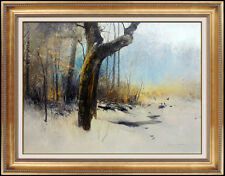 Michael B. Coleman Original Oil Painting On Board Signed Winter Landscape Frame