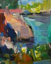 JOSE TRUJILLO - Original OIL PAINTING MODERN Fauvism Expressionism Harbor Lake