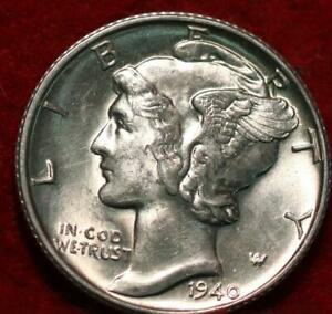Uncirculated 1940-D Denver Mint Silver Mercury Dime