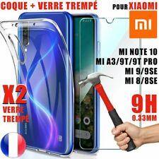 Coque Silicone + Verre trempé Xiaomi Mi10/10T Pro/ Mi 8/9/SE/Lite/Mix/A3 Mi 6/5