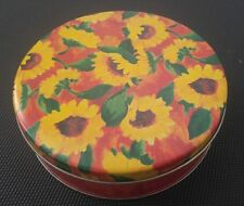 LOT OF 10 SUNFLOWER ROUND TINS FOR FOOD, CRAFTS.  NEW. 7 IN ACROSS, 2 IN HIGH