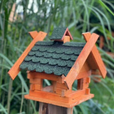 Rechteckiges Vogelhaus M Vogel Futter Haus  Futterstelle aus Holz  Braun/Grün
