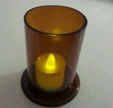 Upcycled/Recycled Tealight Candle Holders Hand Made of Amber Stubby Bottle