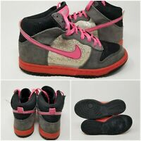 Nike Dunk Pink Glitter Comfort Skate Tennis Shoes Sneaker Youth Girls Size 5Y