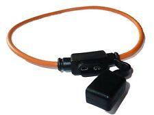 WATERPROOF 30A Inline Mini Blade Type Fuse Holder - In-Line Fuseholder (Orange)