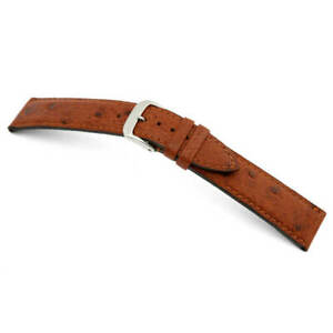RIOS1931 Genuine Ostrich Leather Watch Band 20 mm Mahogany  without Buckle