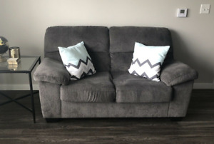 Grey Ashley's Furniture Love Seat And End Table