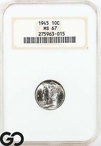 1945 MS67 Mercury Dime NGC Mint State 67 ** Old Fatty Holder!