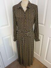 Tesco F&F Chain Print Pleated Dress Size 12 RRP £28 Midi ladies autumnal