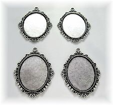 4 Ant. Silvertone Boutique 40mm x 30mm CAMEO Costume PENDANTS Frame Settings