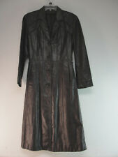 WOMENS REAL LEATHER TRENCHCOAT DARK BROWN MATRIX GOTHIC JACKET FULL LENGTH SZ 10