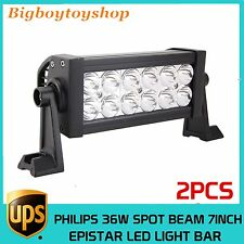 2X 7Inch 36w Double Row Philips Spot Beam LED Light Bar Offroad Ford 4WD Truck