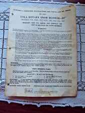"Eska Rotary Snow Blower Manual 20"" Assembly Operating Instructions & Parts 98840"