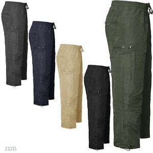 Mens Cargo Combat Thermal Fleece Lined Trousers Jogging Bottoms Pants Joggers