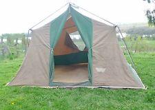 """Vintage Canvas Tent  12' X 9' X 6' 8"""" Tall Sleeps 6 Aluminum Poles"""