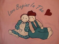 Vintage Love Beings in the Heart Scarecrows Soft Pink T Shirt S