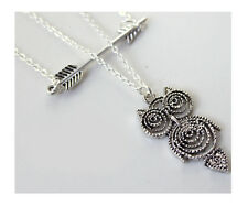 F21 Forever21 Owl and Arrow Necklace Set - ANTIQUE SILVER
