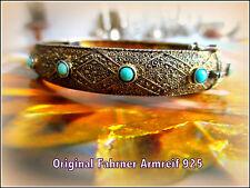 ORIGINAL FAHRNER TF 925 um1920 Pforzheim Armreif 12 Türkis Perlen Handarbeit
