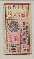 November 1957 Rice vs Baylor Football Upper West Stand Ticket Stub Rice Stadium
